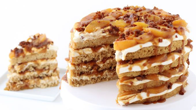 If you love cake and peach cobbler, you are going to go nuts over this dessert…