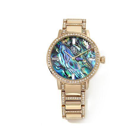 Victoria Wieck Abalone and Pavé Crystal Bracelet Watch - 8008394   HSN