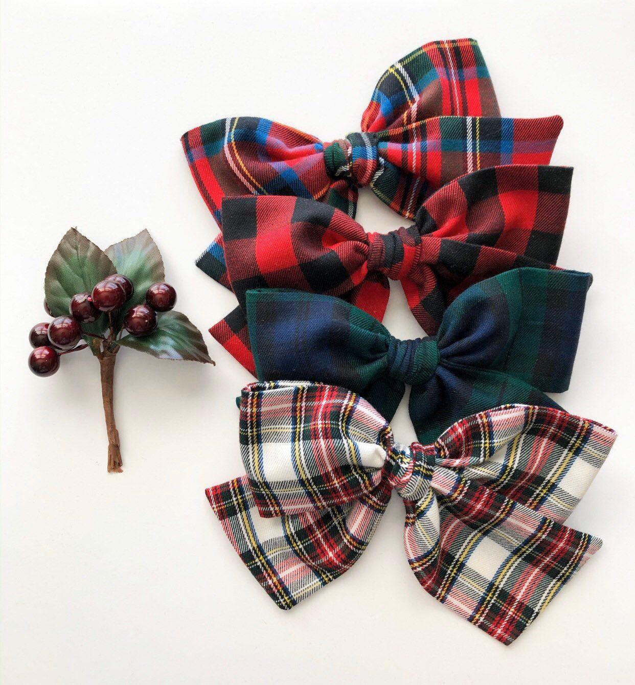 Tartan Plaid Sailor Bow on Nylon Headband