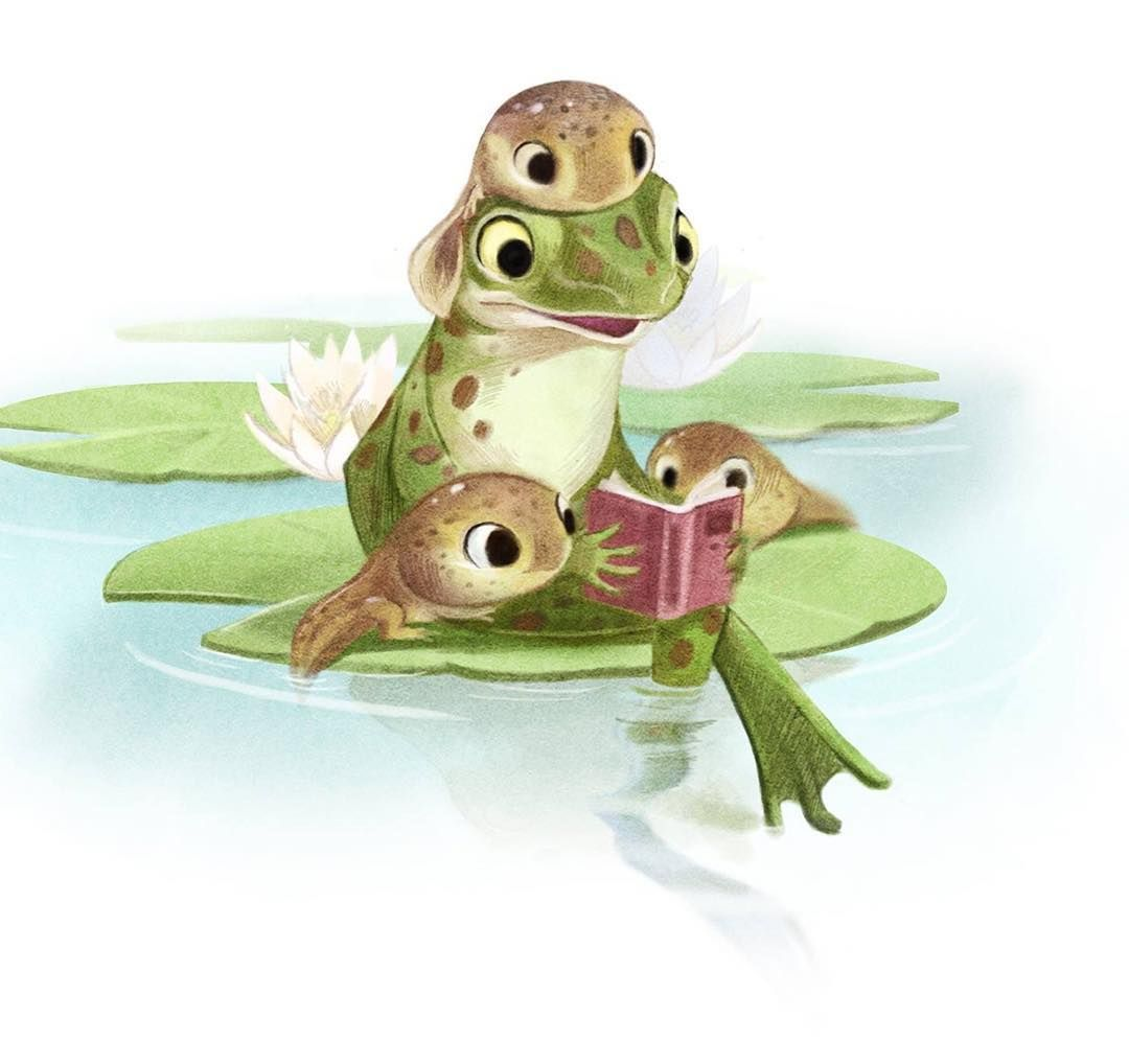Frog Reading To Tadpoles | Cute frogs, Cute animal ...