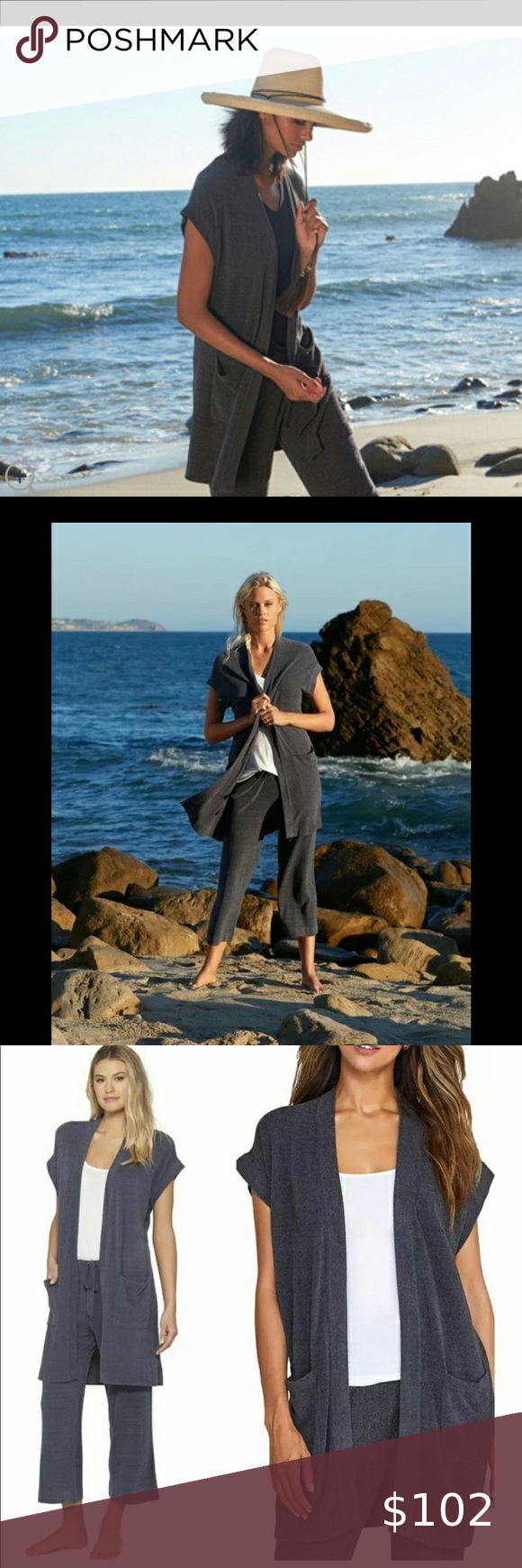 Barefoot Dreams grey sleeveless cardigan/Brand New Barefoot Dreams ultra lite grey sleeveless cardigan/Brand New With Tags .. the cozy chic ultra lite knit fabric is so luxurious soft , you'll NEVER want to take it off , but don't worry no one is saying you have to , your closet is screaming for this amazing piece Barefoot Dreams Sweaters Cardigans