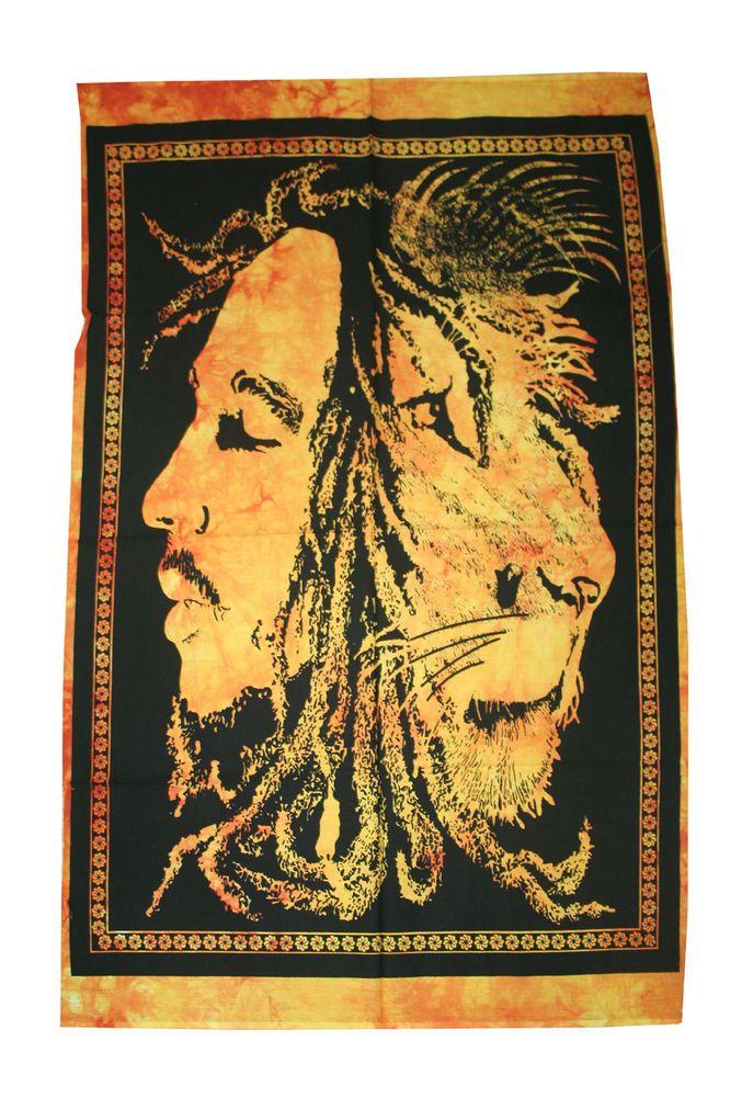 Bob Marley Lion Face Rasta Wall Art Boho Poster Dorm Decor Bohemian ...