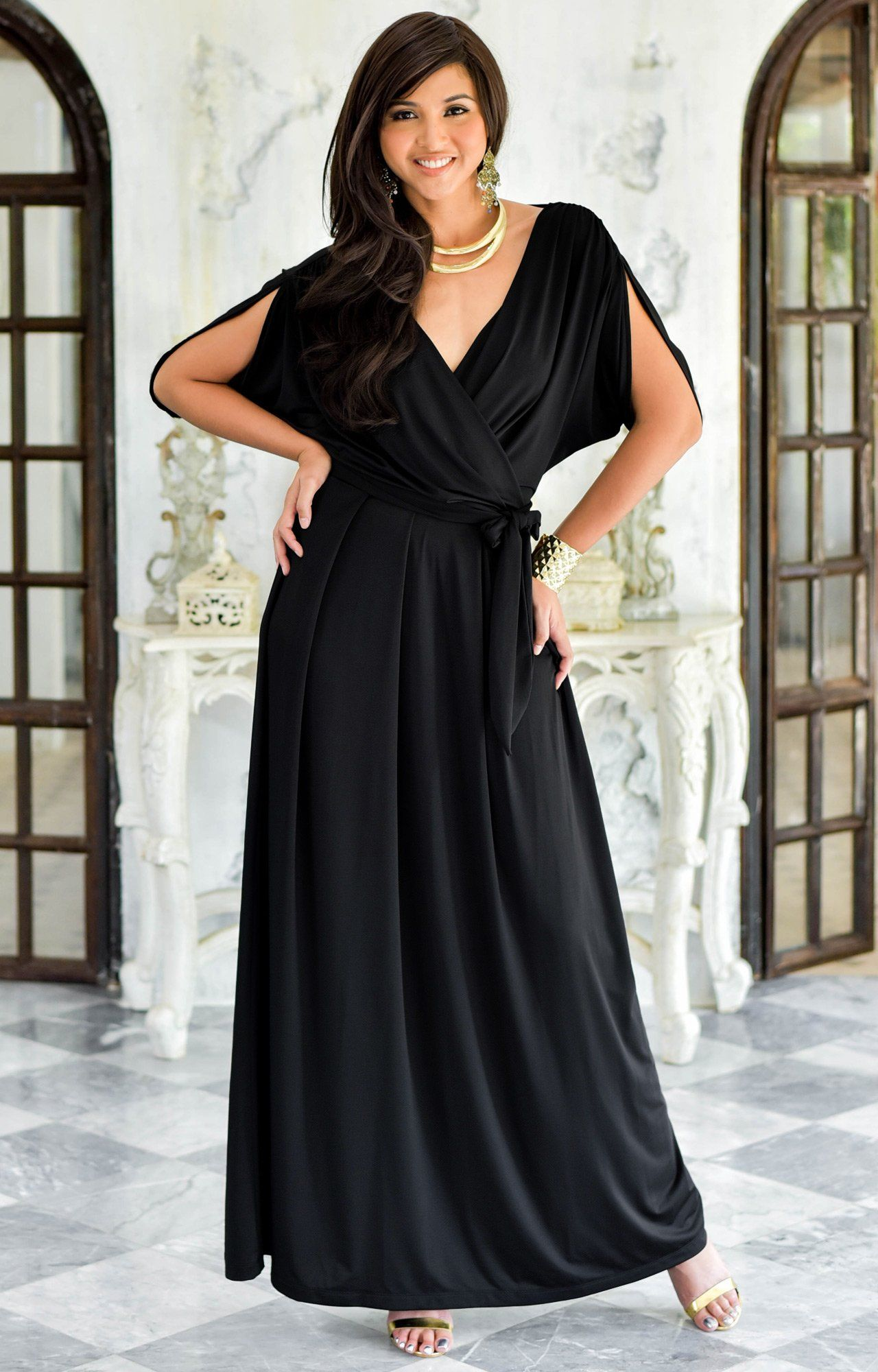 KOH KOH Plus Size Womens Long Formal Short Sleeve Cocktail Flowy VNeck  Casual Bridesmaid Wedding Guest a5887ed06
