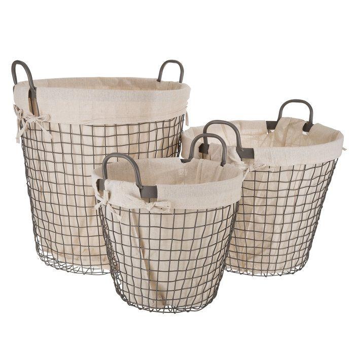Round Wire Basket Set With Liners Wire Basket Decor Wire