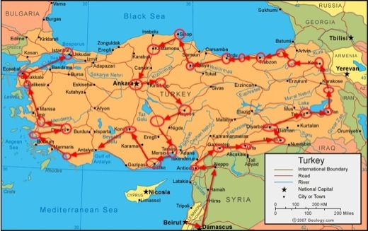 travel route map around turkey travel routes pinterest map