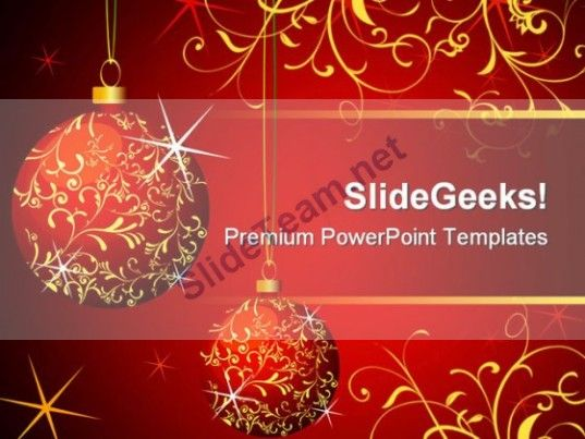 Balls Abstract Christmas PowerPoint Template 0610 #PowerPoint - christmas powerpoint template