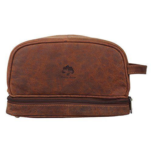 Leather Toiletry Bag Men Women Travel Bathroom Makeup Kit Organizer Gift Brown For