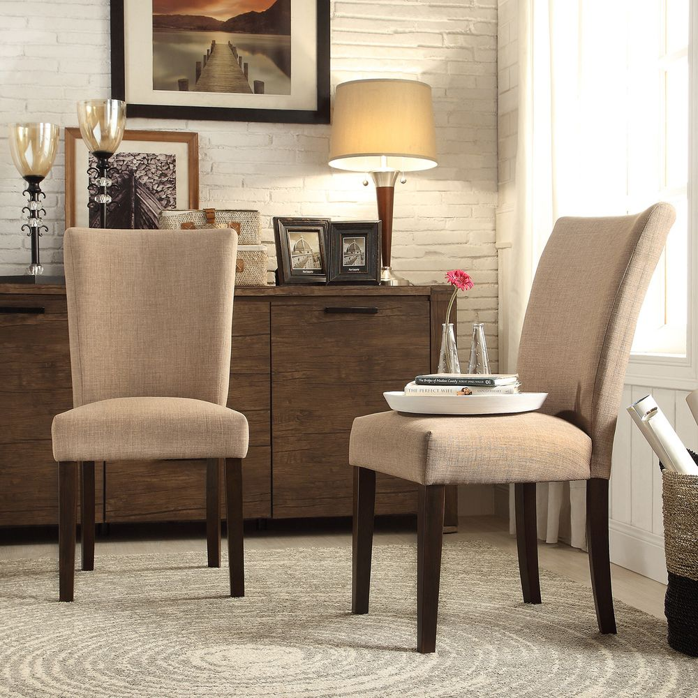 Inspire Q Parson Classic Light Brown Linen Side Chairs (Set of
