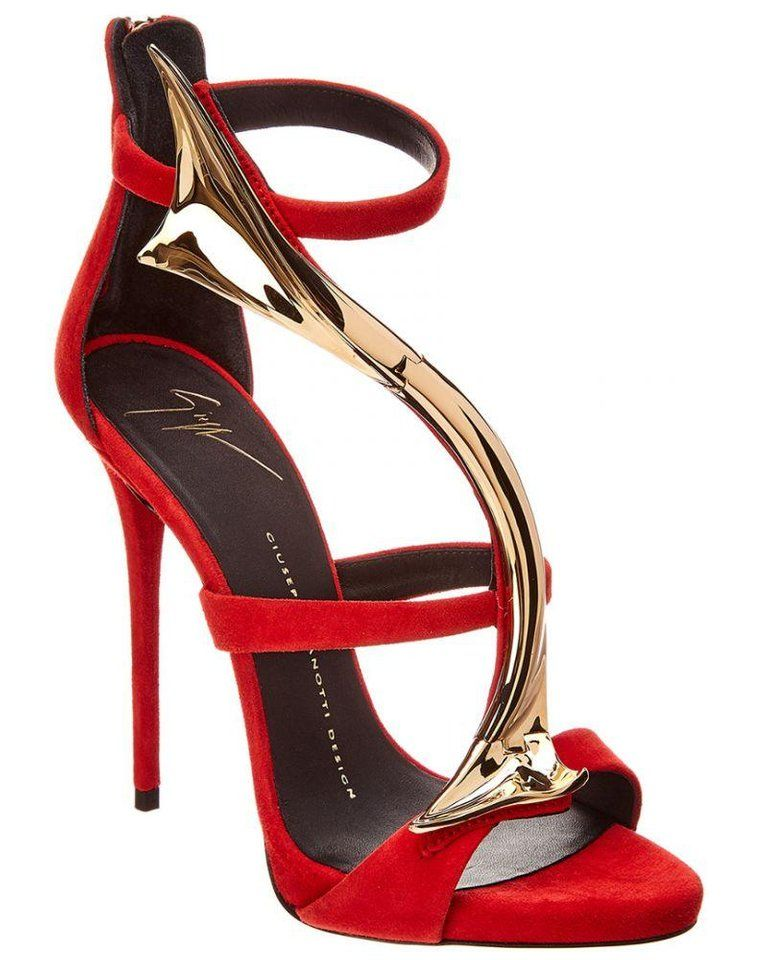 fe94643575bdb Giuseppe Zanotti NEW Red Suede Gold Snake Evening Sandals Heels in Box Size  IT 36 Suede Metal Gold tone Zipper closure Made in Italy Heel height 5