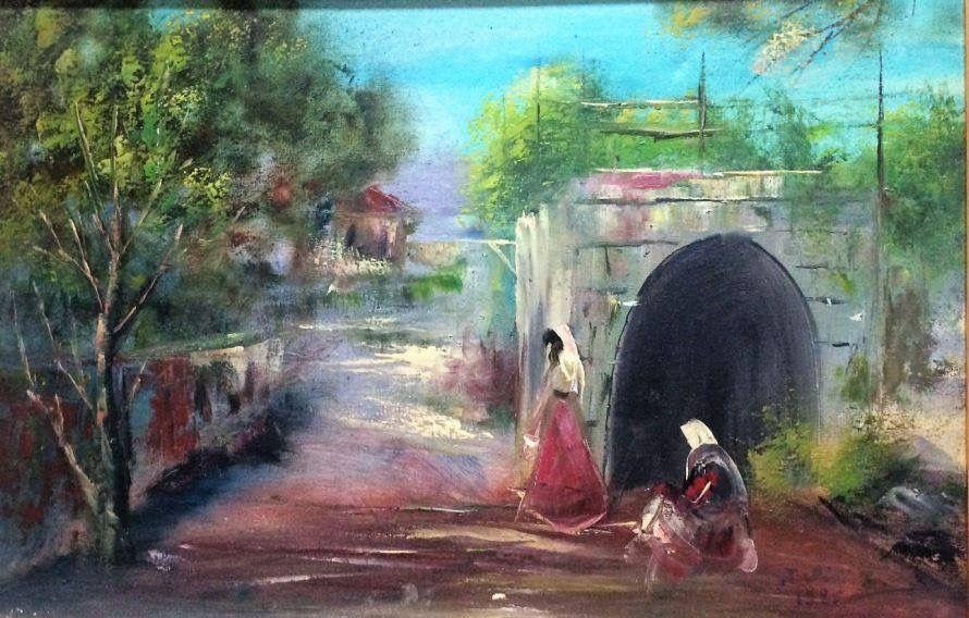الحياة القروية القديمة في جنوب لبنان من لوحات جوليا جابر Old And Traditional Live In South Lebanon Julia Jaber Art Painting