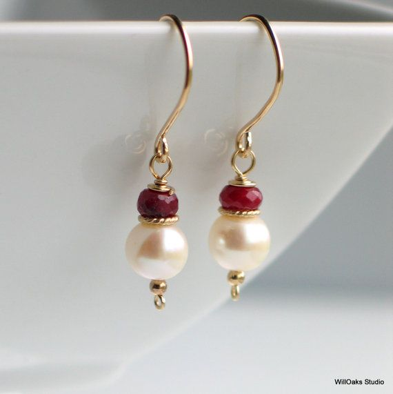 White Pearl Red Ruby and Gold Earrings, Faceted Ruby and White Freshwater Pearl Earrings, Pearl Classics, July Birthstone