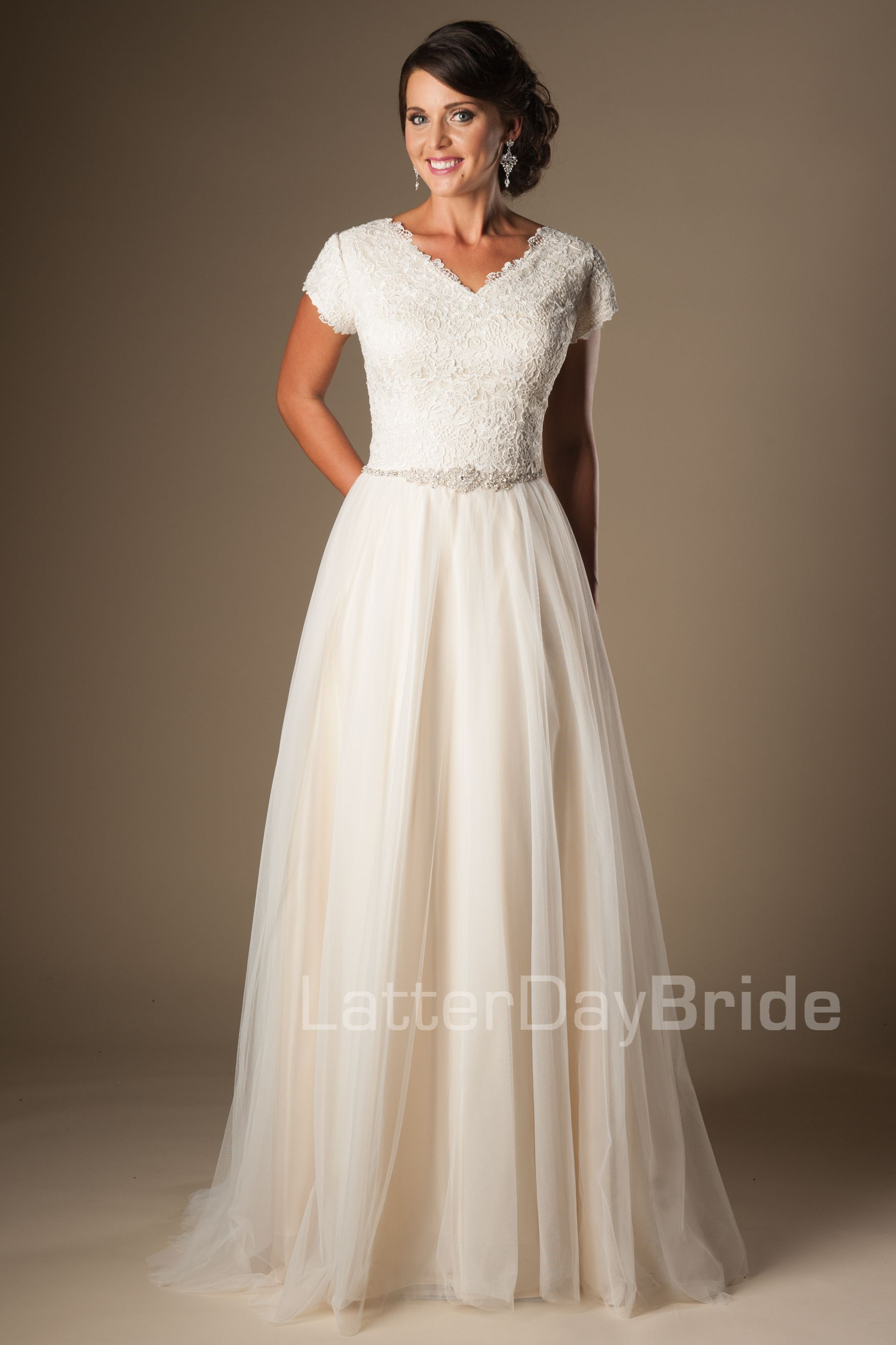 Love This Modest Dress Delicate Belt Light Lace Flowing Skirt And Petal Sleeves