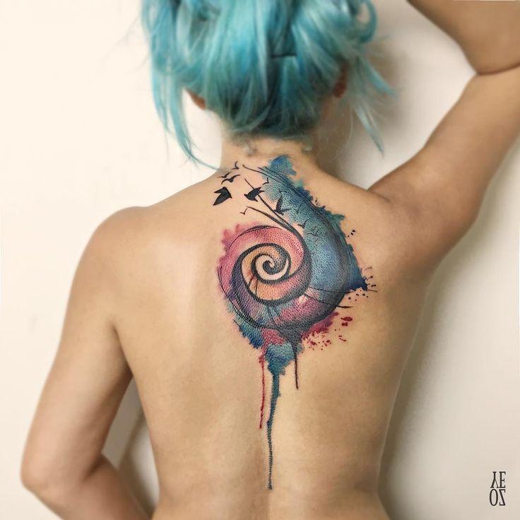 Best Watercolor tattoo - Hermoso Caracol y Aves estilo Acuarelas por Yeliz Ozcan...
