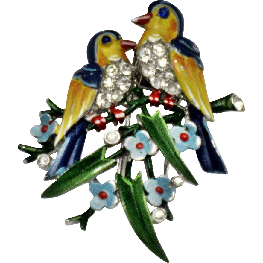 Vintage 1940/'s Gold Filled with Faux Pearl Figural Lovebirds Brooch Pin
