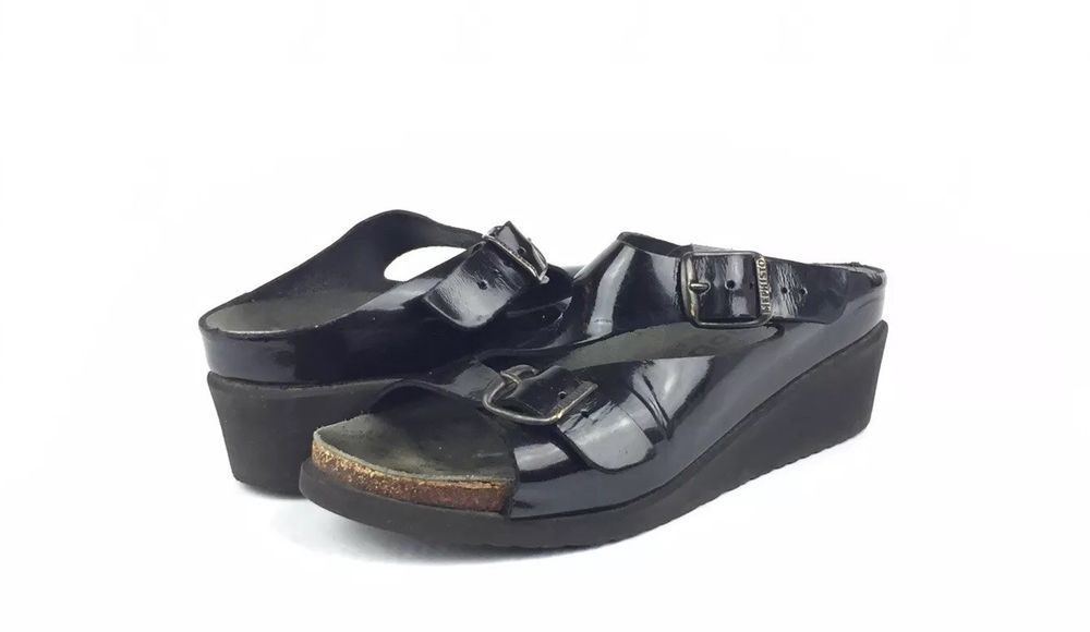349a5a709ff Mephisto Mobils Shiny Black Double Strap Wedge Cork Sandals Size 36 EU 6 US   245  fashion  clothing  shoes  accessories  womensshoes  sandals (ebay  link)