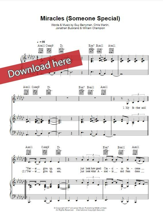 Coldplay Miracles Someone Special Sheet Music Piano Notes Chords