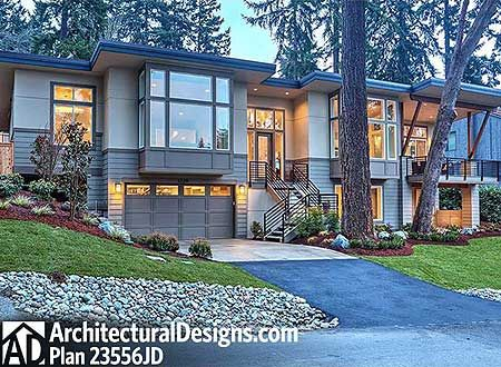 Plan 23556JD: Modern Beauty For Front Sloping Lot. Contemporary House PlansModern  ...
