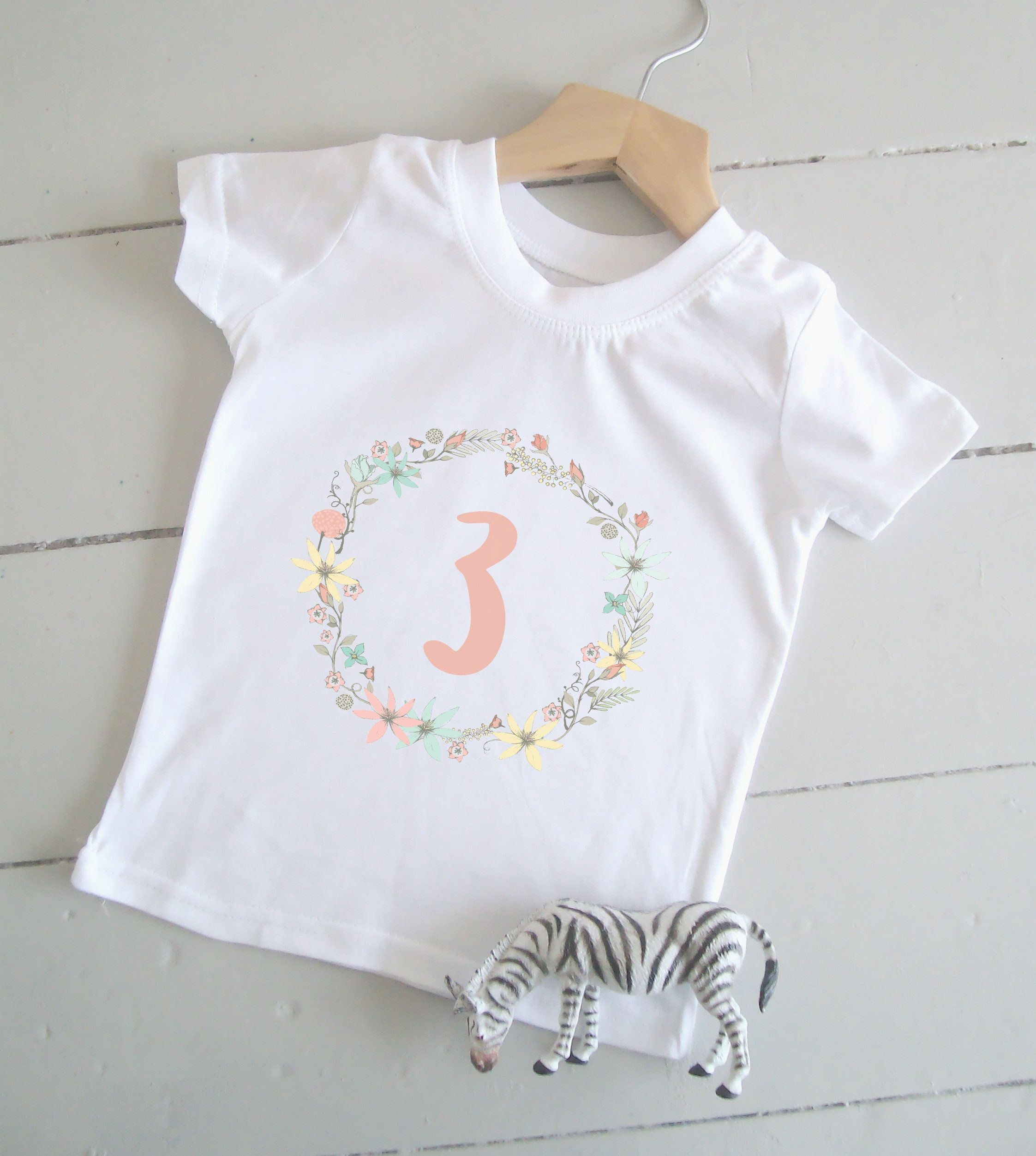 1a158989f7eb5 Floral Girl's 3rd Birthday Tshirt / 3 Today Shirt / Third Birthday Top /  Toddler Age Print T Shirt / Pink / Party Outfit / Kid's Clothing