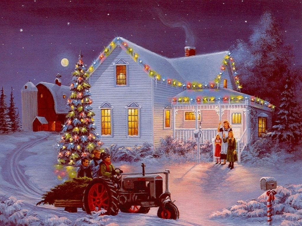 Winter Farm Scenes Wallpaper The Farm Cynthia Lang 1024 Christmas Photography Desktop Wal Thomas Kinkade Christmas Christmas Scenes Christmas Paintings