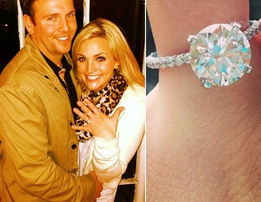 Jamie Lynn Spears    Large Round On A Petite Shared Prong Band. Biggest  Engagement RingCelebrity Engagement RingsEngagement ...