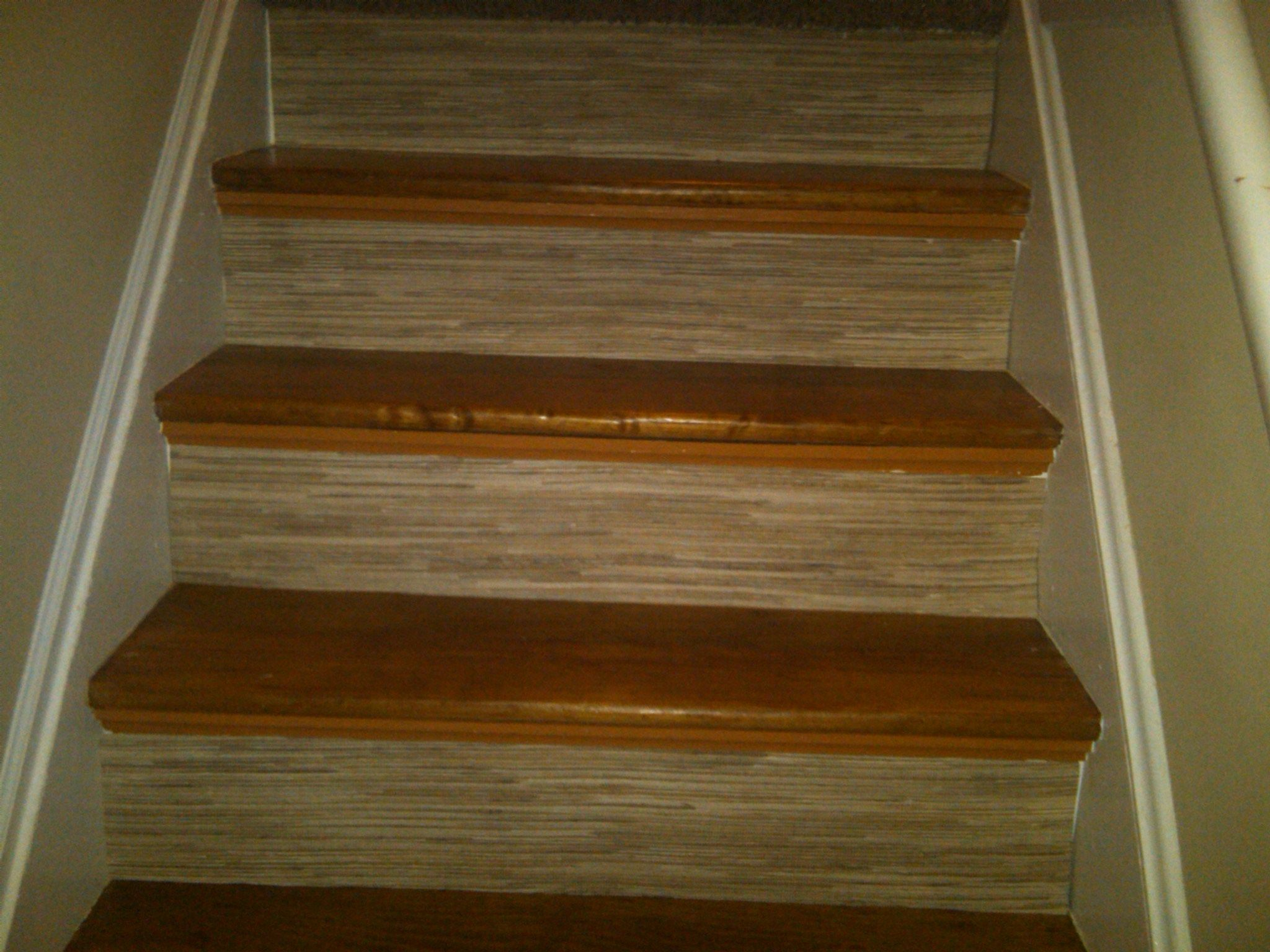 Wallpaper Stair Risers With Heavy Duty Grass Cloth Wallpaper | Hardwood Steps And Risers | Gray Painted | Cherry Wood | Hardwood Floor | Timber | White