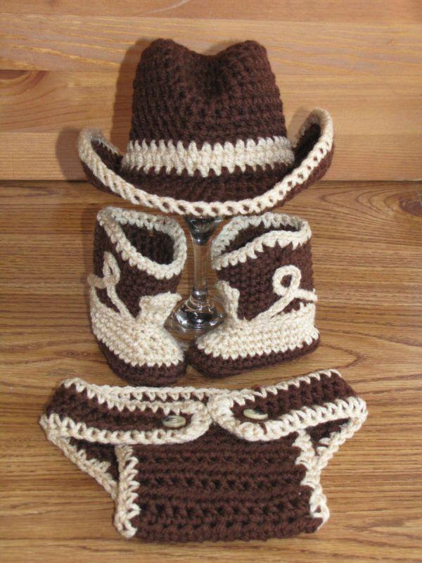 Newborn Baby Crochet Cowboy Hat Boots Diaper Cover Photo Prop