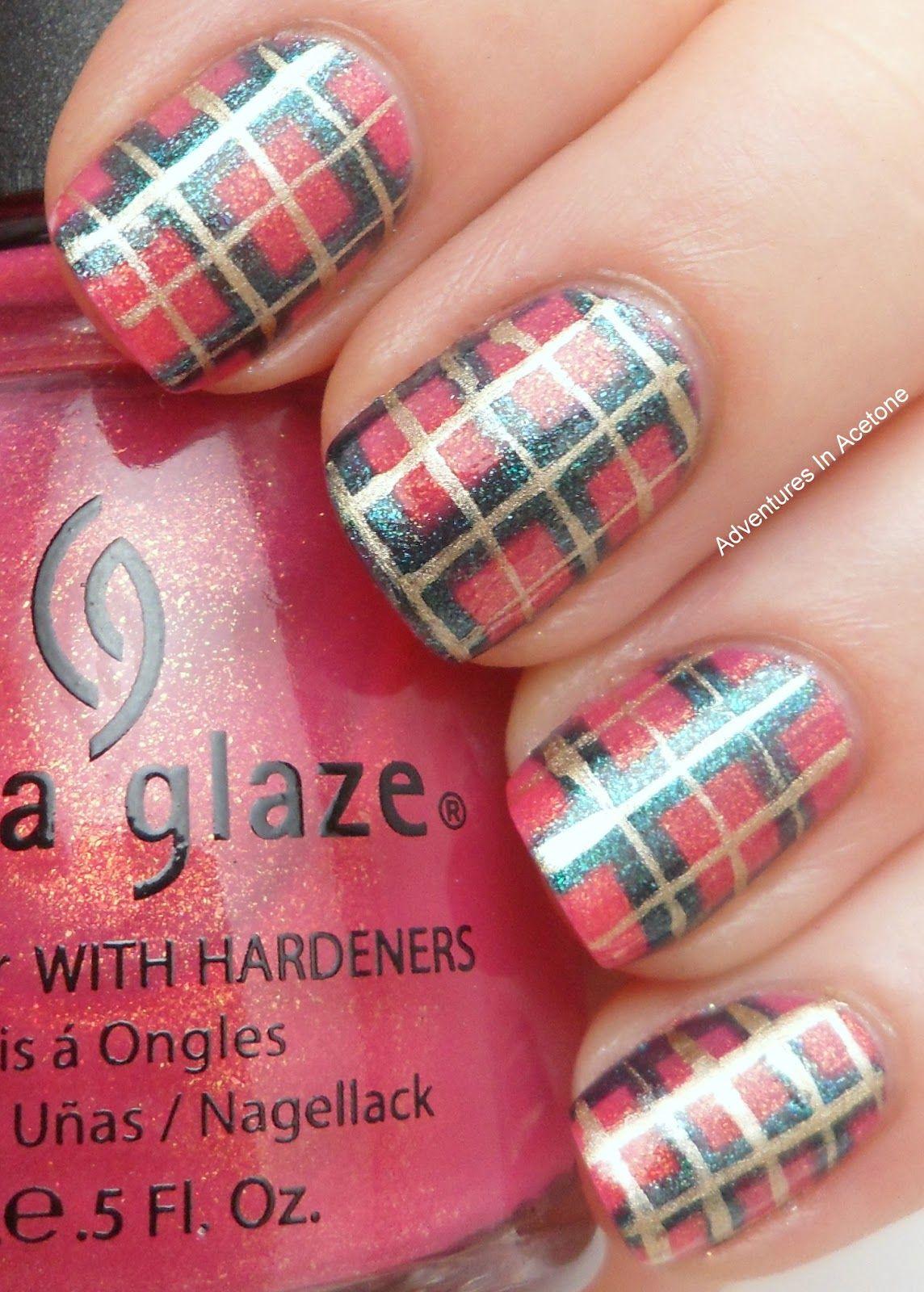 Plaid nails coats of china glaze strawberry fields china glaze