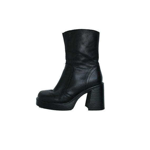 117f2a99a9f Leather 90s Steve Madden Black Platform Boots Hipster Goth ...