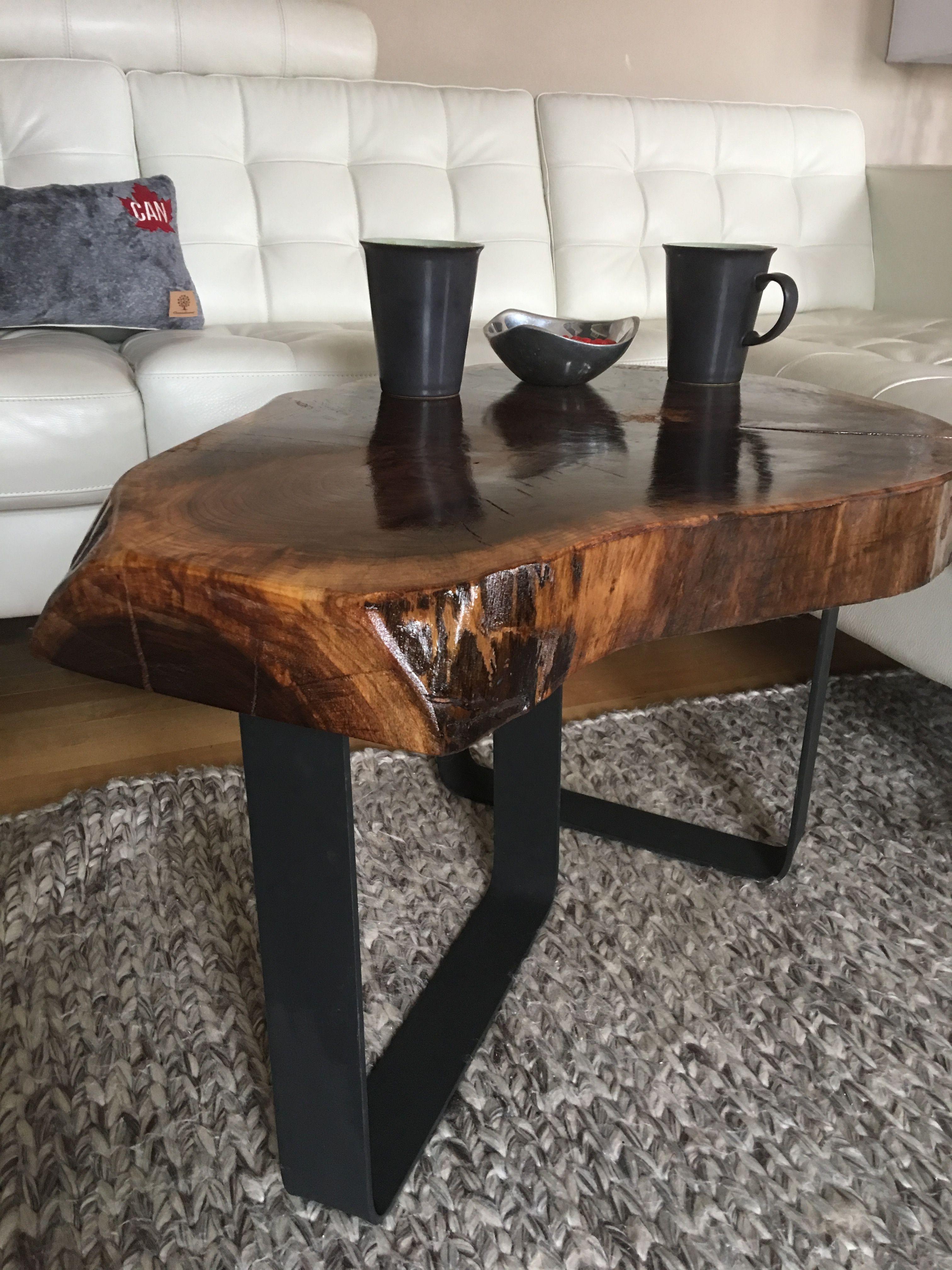 Walnut Live Edge Coffee Table With Metal Legs Log Furniture Tree