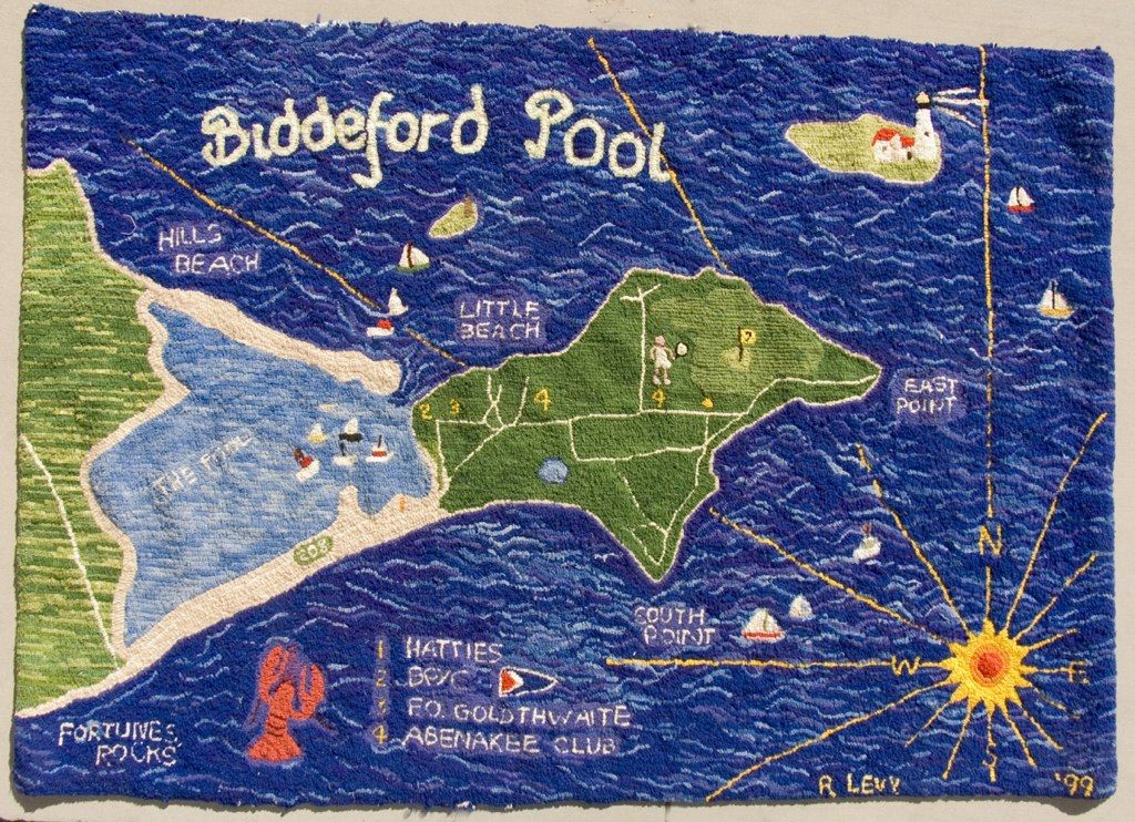 Biddeford Pool Map 1999 By Richard Levy Biddeford Maine Beaches Rug Hooking