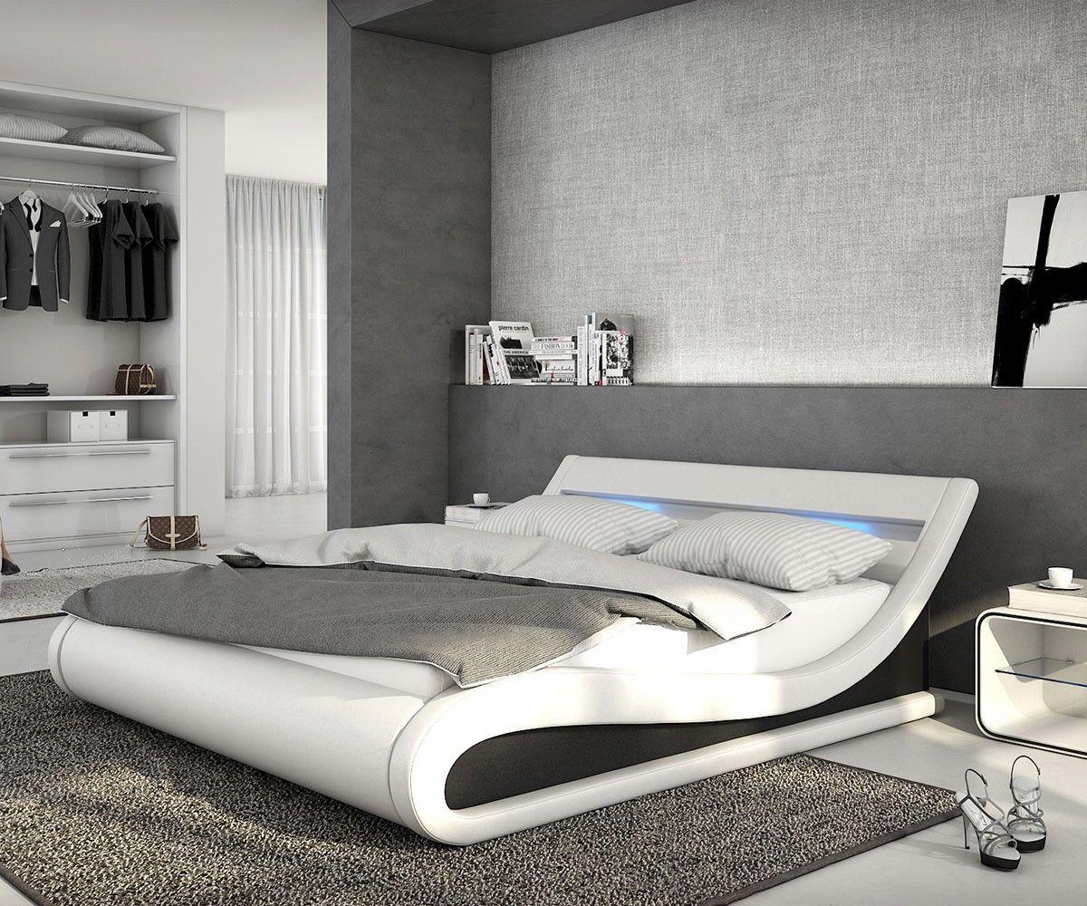 Polsterbett Belana 140x200 cm Weiss Schwarz mit LED   Bett ...