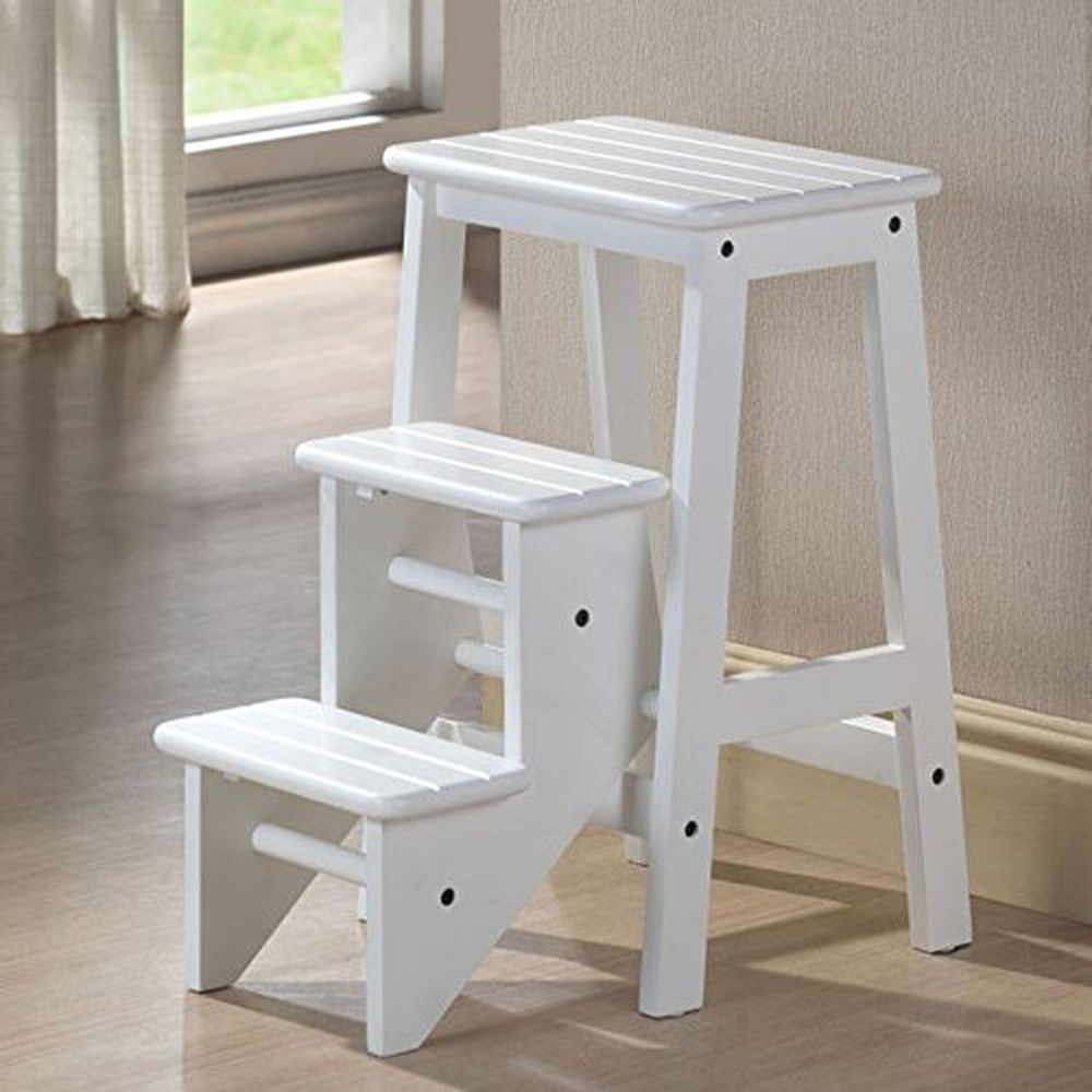 Folding Step Stool 24 Chair Ladder Platform White Hard Wood Kitchen Home Boraam Contemporary