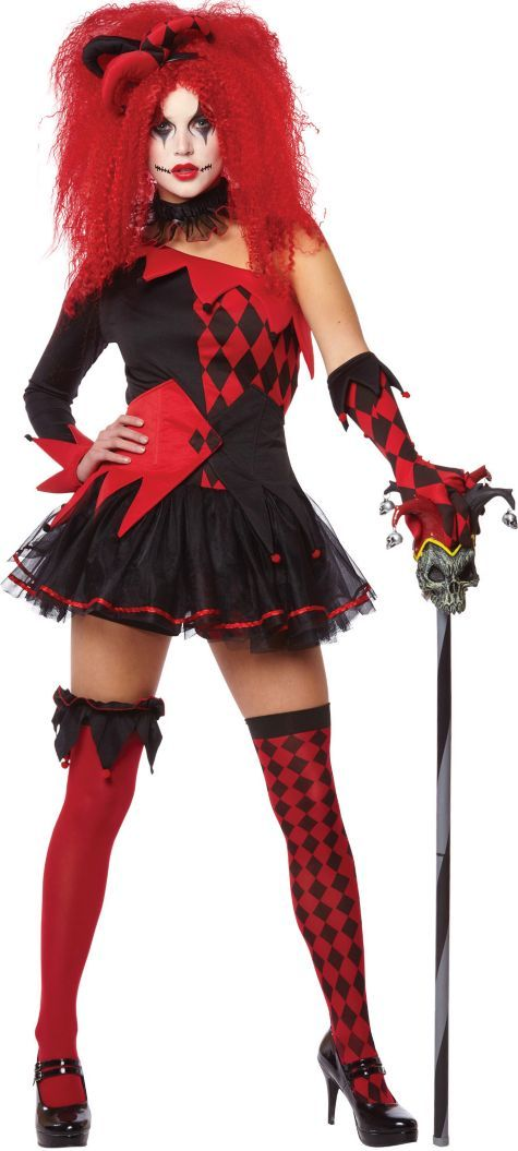 Red Jesterina Harley Quinn Halloween Clown Fancy Dress Costume with Jester Cane