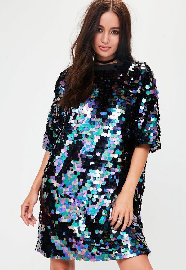 c1d1425b69ac3 Black t shirt dress featuring black iridescent sequins