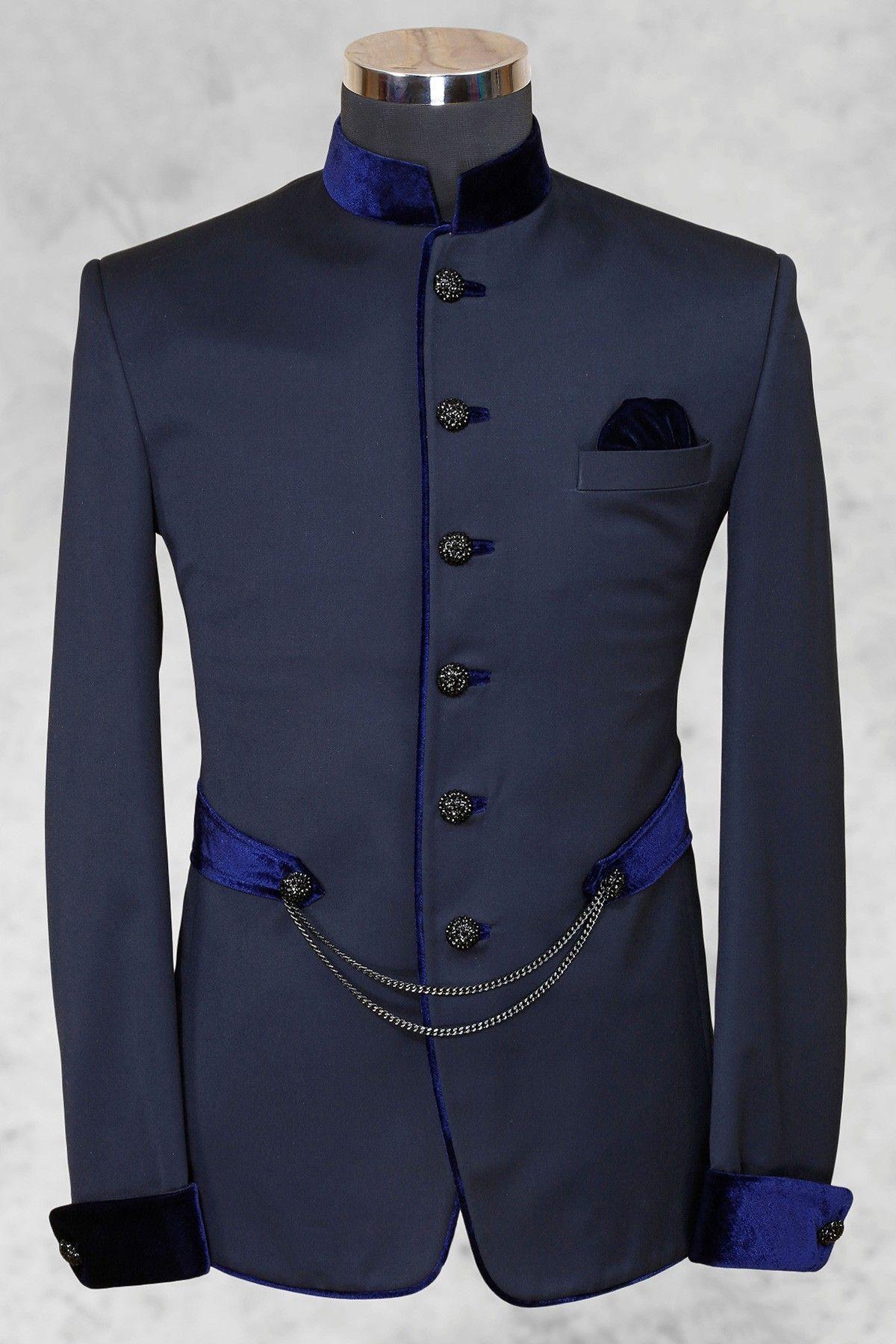 greyish blue smart italian suit with bandhgala collar