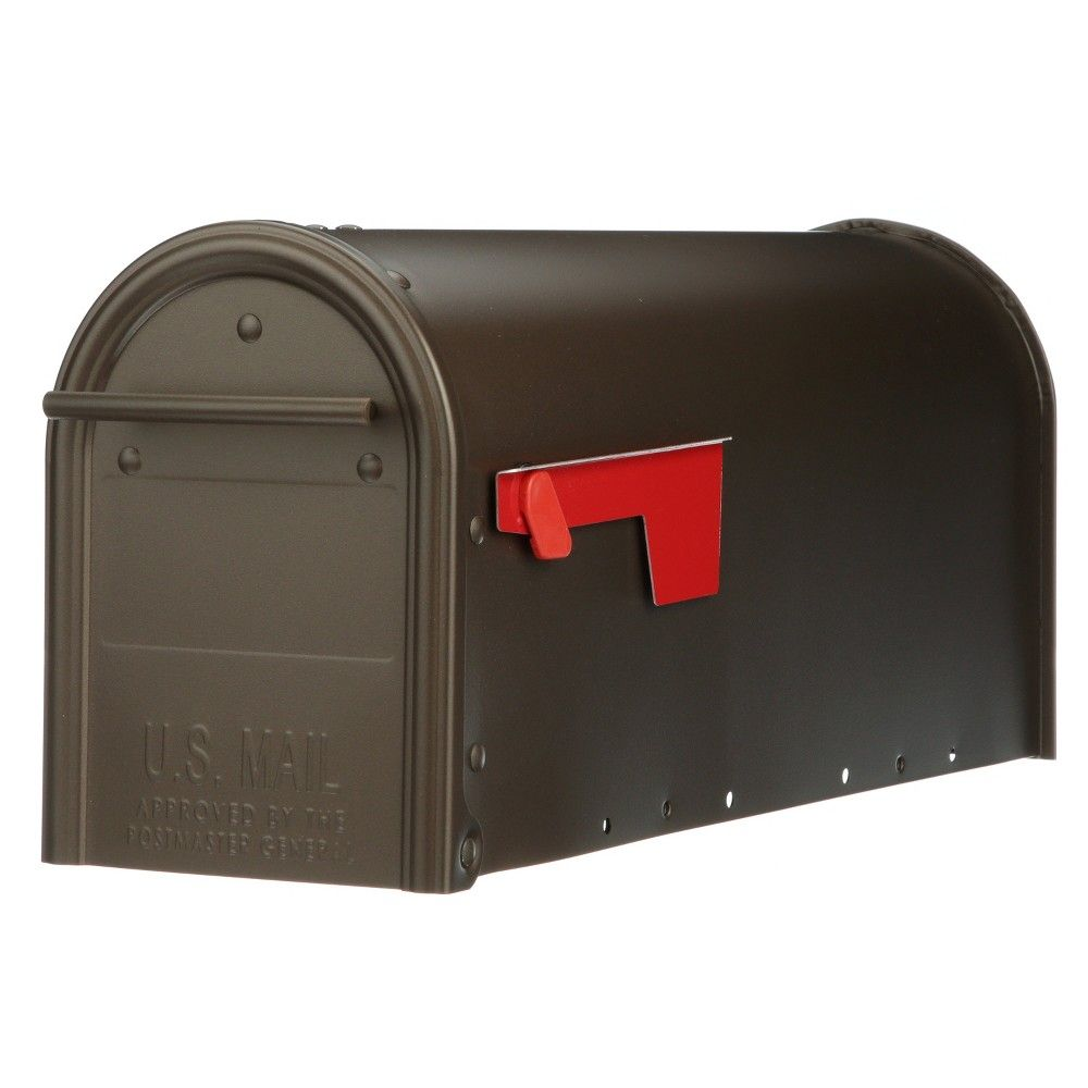 Post Mount Steel Mailbox Extra Large Package Heavy Duty Bronze Galvanized Letter