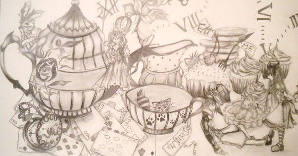 Alice In Wonderland Tea Party Drawing Alice In Wonderland Tea