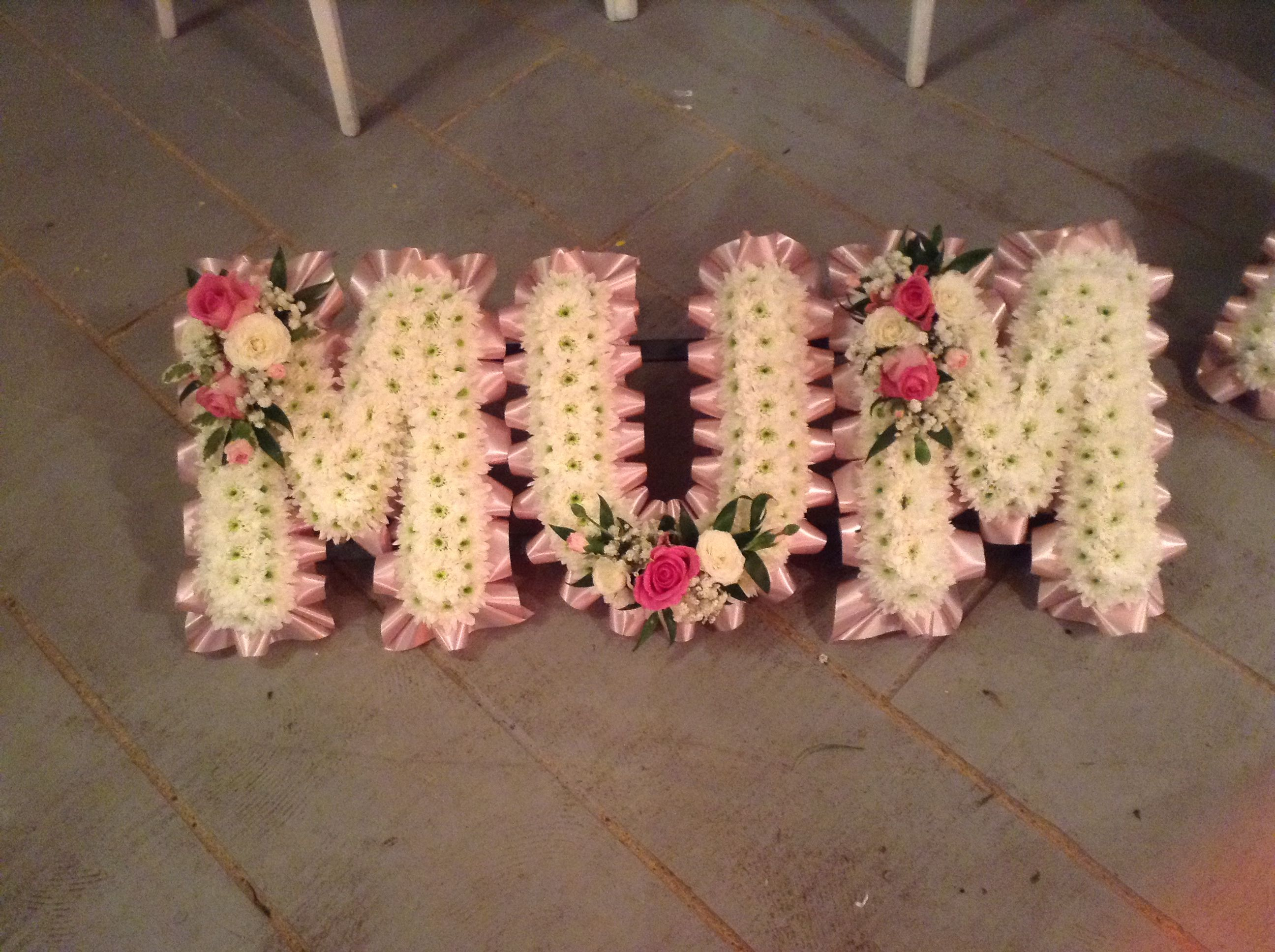 Funeral Flowers Mum Funeral Flower Tribute Baby Pink Ribbon White