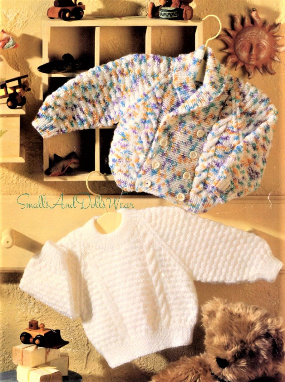 Vintage Knitting Pattern Knit Baby Double Breasted Cable ...