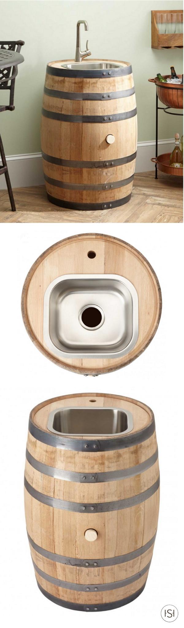 Bradman whiskey barrel bar sink square stainless steel for Man cave bathroom sink