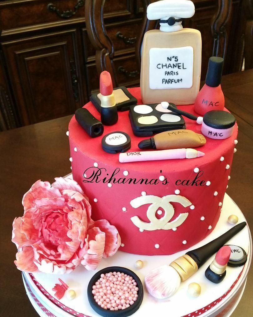 Chanel Make Up Cake Happy Birthday Cake Makeupcake Chanelcake Fondantcake Fondantchanelcake Birthdayca Cake Make Up Cake Best Birthday Cake Designs