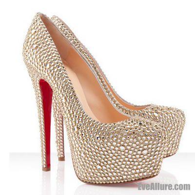 EveAllure 140 mm Round Toe Stiletto Heel Rhinestones Pumps Shoes Crystal Gold - EveAllure