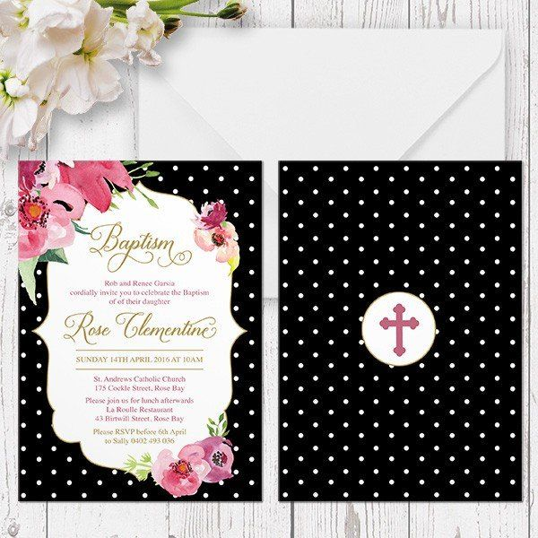 Modern Gold and Pink Floral Baptism or Christening invitation printed on double sided cardstock Peach Perfect Australia