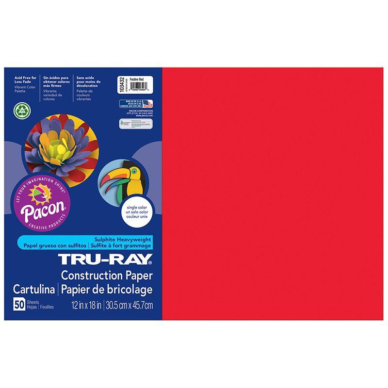 TRU RAY 12 X 18 FESTIVE RED 50 SHT