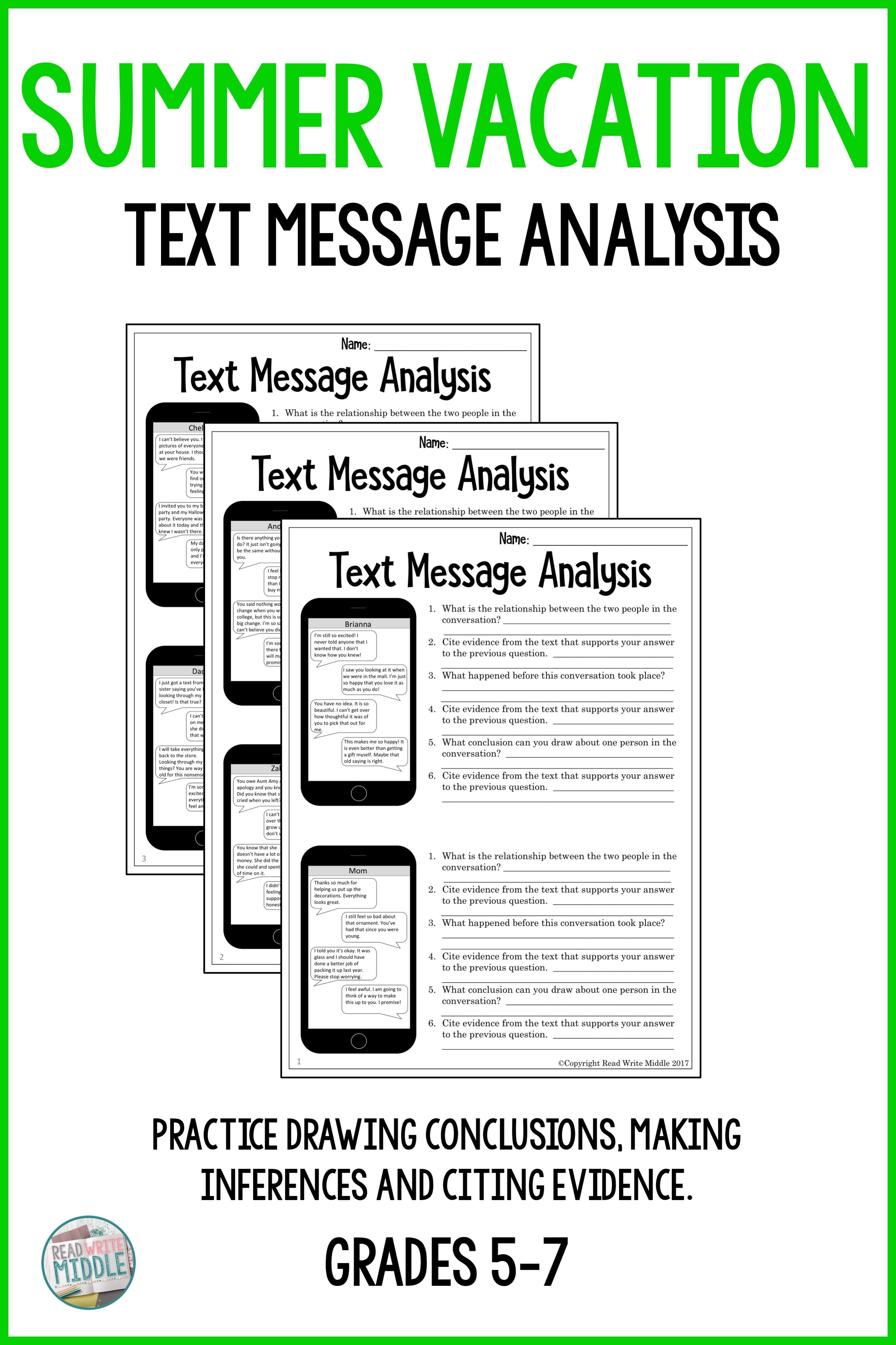 Summer Vacation Text Messageysis Inferencing Amp Citing