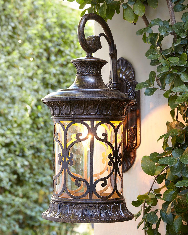 Orlean small outdoor sconce arte en hierro pinterest for Faroles en hierro forjado para jardin