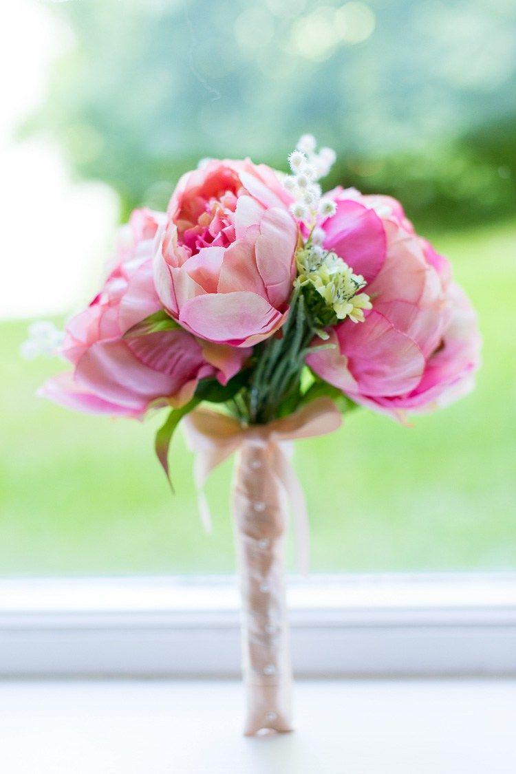 Silk peony bouquet bride bridal flowers sweet homespun colourful