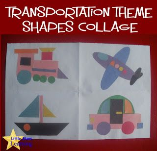 Transportation Collage w/Template | May kids crafts | Transportation