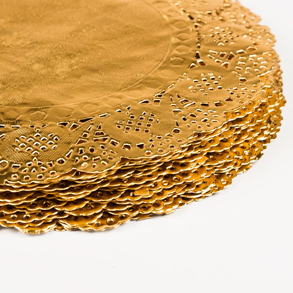 8 5 Round Gold Foil Doily Placemats Metallic 50 Pack Wedding Placemats Colored Doilies Wedding Planning Tips