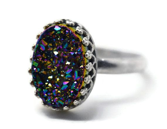 Rainbow Ring, Druzy Agate Ring, Drusy Cocktail Ring, Sparkling Gemstone Ring